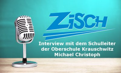 Schulleiter Michael Christoph im Interview mit Schülerin Lea Eifler